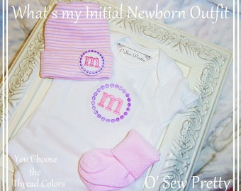 Newborn Girl Coming Home Outfit with matching hat and socks, Infant Hospital Hat, Monogrammed Infant hospital hat, Baby Gift, Newborn hat