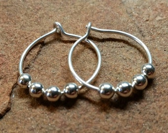 Classic Smooth Hammered BEADED Sterling Silver Hoop Earrings - Approx 1.25 Inches - Handmade to Order
