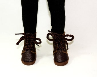 "Lace Up Ankle Boots fit 13"" Little Darling Dolls, Brown boots, Dianna Effner dolls,"