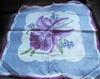 Vintage Hanky With Large Purple Orchid In The Center Design