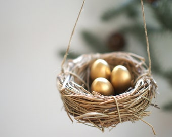 Gold Nest Christmas Ornaments, Rustic Golden Tree Decorations, Winter Decorating, natural Home Decor : 3