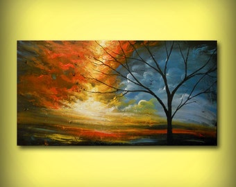 wall art wall decor fine art abstract wall hangings tree paintings original painting lollipop tree large art large painting 22 x 56 Mattsart