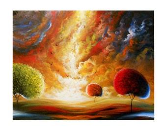 wall art giclee print abstract painting large art folk tree art original landscape HUGE retro illustration