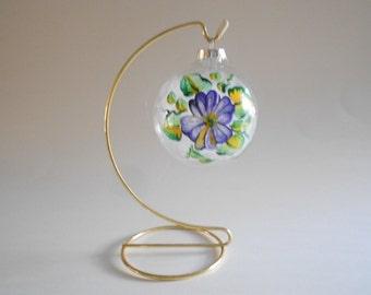 Purple Pansy Ball Glass Ball Hand Painted Ball Pansy Suncatcher Tree Ornament Home Decor Pansy Ornament Glass Ball Ornament