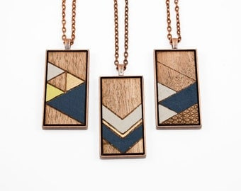 Painted Geometric Pendant - Laser Cut Wood Necklace (Choose Your Pattern) - Navy Blue, Light Gray, Metallic Gold