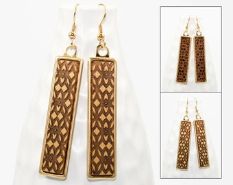 Wood Dangle Earrings - Damask Pattern Laser Engraved (Brass Setting / Choose Your Color) Hypoallergenic