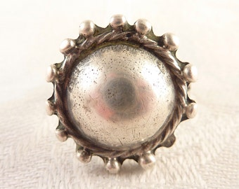 SALE --- Antique Size 7.5 Handmade Mexican Sterling Studded Dome Ball Ring