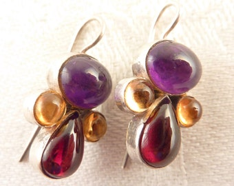 Vintage Amethyst Garnet and Citrine Multi Gemstone Sterling Earrings