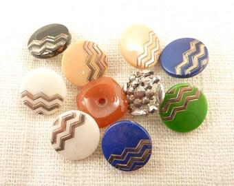 SALE ==== Group of Ten Vintage Deco Buttons