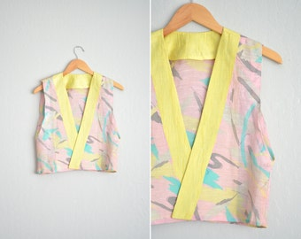 Size XS/S // ABSTRACT VEST // Pink & Yellow - Print - Open Vest - Handmade Vintage - '80s Style.