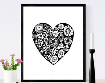 Flower Heart Limited Edition Screen Print (Black) 50cm x 40cm size