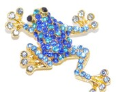 50% DISCOUNT Needle minder, Cross stitch, Rhinestone Frog, Fridge Magnet, Tapestry - Blue Frog
