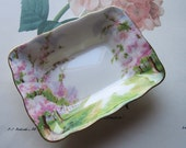 "Vintage Royal Albert Dish Bone China * Blossom Time * Rectangular  Sweet Meat 5"" * Candy Dish * Vintage Kitchen Serve * Replacement *"