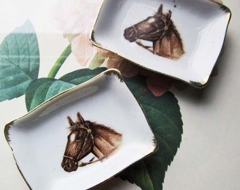 Vintage Horse Decor * 2 Small Trinket Dishes * Creative Holder * Tea Bag Dish * Jewelry Dish * His /Hers * Matching Bedside Decor * West