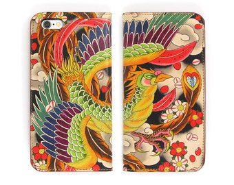 Leather iPhone 6 case, Galaxy S6 Case, iPhone 6s Case, iPhone 6s Plus Case, iPhone 5/5s Case - Japanese Phoenix Tattoo   (Exclusive Range)