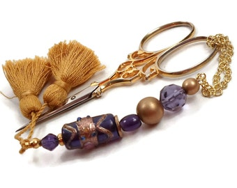 Handmade Scissor Fob, Purple, Gold, Quilting, Sewing, Cross Stitch, Beaded, Gift for Crafter