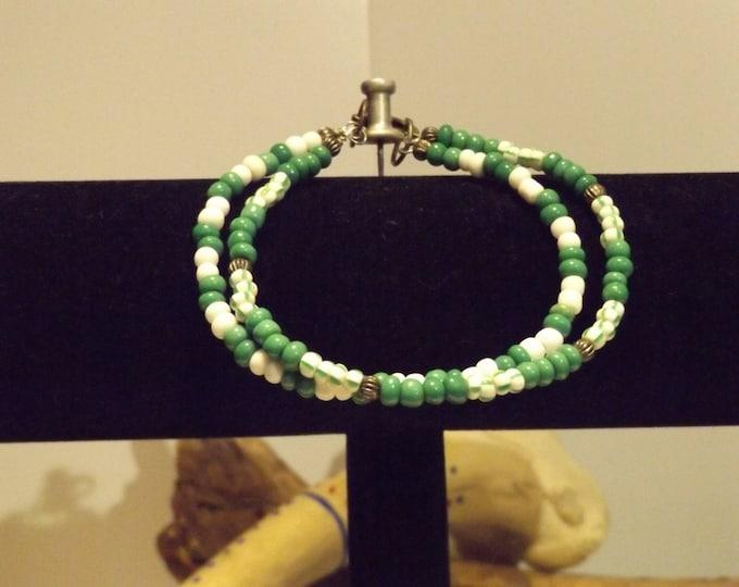 Trade Bead Bracelet, Green Beads, White Beads, Friendship Bracelet, Beaded Jewelry, Beaded Bracelet, Double Strand Bracelet
