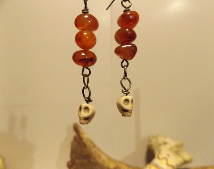Carnelian Gemstone, Skull Earrings,Healing Crystal and Gemstone Jewelry, Pagan Healing Earrings, Healing Jewelry, Healing Crystal and Stones