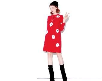 vintage 80s RED sweater dress xs small medium // cozy cotton knit sweater dress knit jumper dress ugly christmas sweater dress