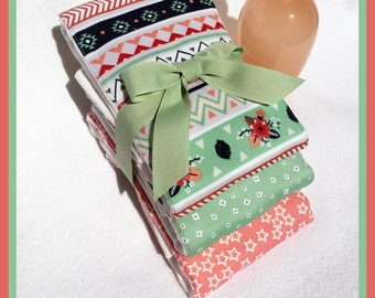 Aztec Tribal Burp Cloths in Mint and Coral for New Baby Girl Shower Gift Set Fast Shipping Best on Etsy
