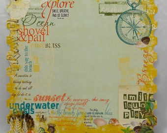 Webster's Pages Seaside Retreat collection- 12x12 die cut decorative edge paper