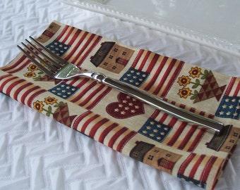 Dinner Napkins, Folk Art Napkins, Americana Napkins, Flag Napkins, Country Napkins, Cloth Napkins, Fabric Napkins, Sunflowers Napkins, USA