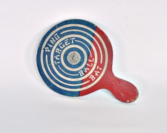 Game Room Decor - Paddle Ball - Ping Target Ball Bat - Red White and Blue