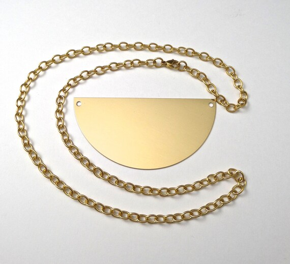 """3"""" Brass Half Circle Necklace Kit with Gold Anodized Surgical Steel Chain"""