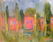 ON RESERVE SC / Original acrylic impressionist painting, pink and green landscape with poplar trees, Russ Potak