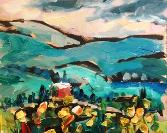 Red barn on hill, original acrylic landscape painting, blue, yellow, red, expressionist impressionism, by Russ Potak