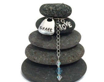 Share Love Rock Cairn, Inexpensive Holiday Gift, Wishing Stones, Friendship, Amore, Affection, Zen Garden, Inspirational Gift, Desk Gift