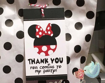Minnie Mouse Thank You Tags,  Disney Birthday Party Favor Tags