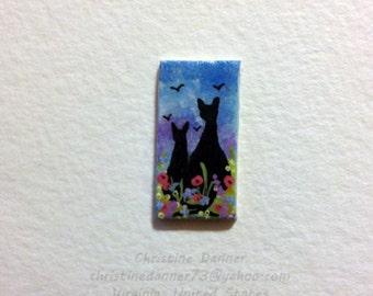 Tiny Miniature Dollhouse Art 1/2 x 1 inch Painting Black Cats, Flowers & Birds
