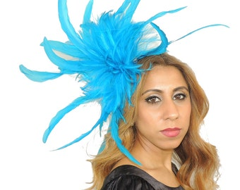 Unstripped Turquoise Fascinator Hat for Weddings, Races, and Special Events With Headband