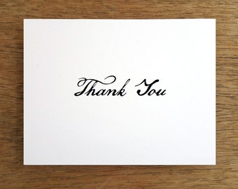 Printable Thank You Card  - Black & White Thank You Note - Instant Download - Calligraphy Thank You - Thank You PDF - Thank You Download PDF