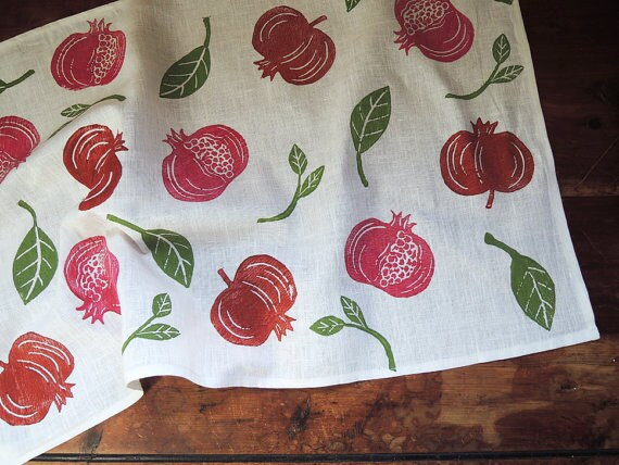 Red pomegranate fruit hand block printed botanical home decor white linen table runner