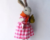 An Original Needle Felted Pale Grey  Rabbit with Spun Cotton Pear