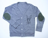 SIR HOPKINS, clothing, kids, sweater, cardigan, boys, girls, easter sweater, bunny, top, elbow patch, gray, handprinted, tri blend top