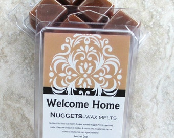 Welcome Home Wax Melts, Nuggets(tm), warm bakery fragrance, handmade strong wax tarts