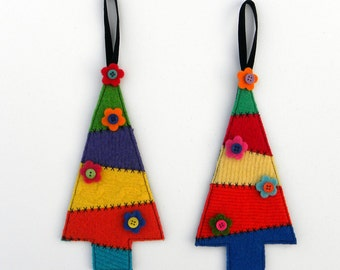 Rescued Wool Ornaments - Patchwork Sweater Trees