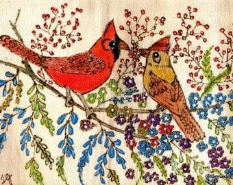 Woodburned Watercolor: Cardinals' Dinner Date