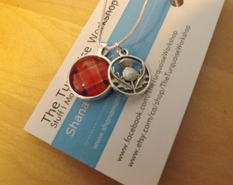 Plaid and Thistle NECKLACE, Hanging CHARM Necklace, inspired by the SCOTTISH Highlands, Highlander