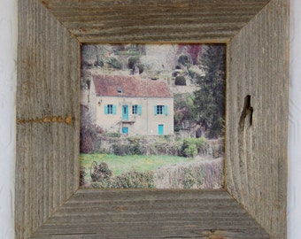 French Cottage, canvas print 5x5 barnwood frame