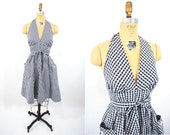 1970s halter dress | 1950s style pin up black white gingham wrap dress | vintage 70s dress