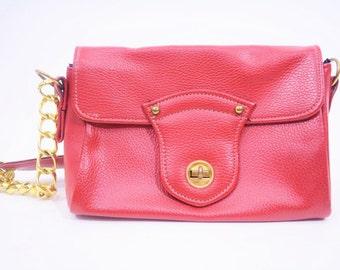 1960s chain purse | red faux leather gold chain shoulder bag | vintage 60s purse