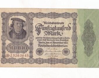 1 Piece Vintage German Reichsbanknote 50000 Mark Paper Money 1922
