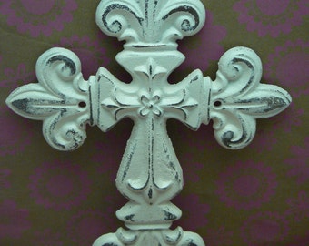 Fleur de lis Cross Wall FDL Decor Off White Cream Distressed Shabby Style Chic French Paris Ornate Decoration Cast Iron