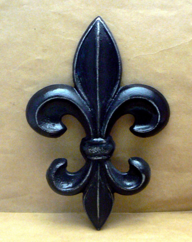 Fleur De Lis Fdl Cast Iron Painted Classic Black Distressed