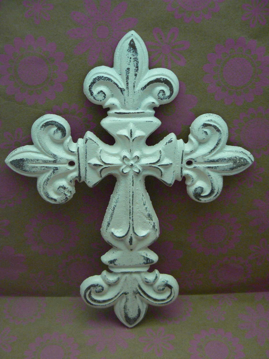 Fleur de lis cross fdl cast iron shabby chic off white wall decor amipublicfo Image collections