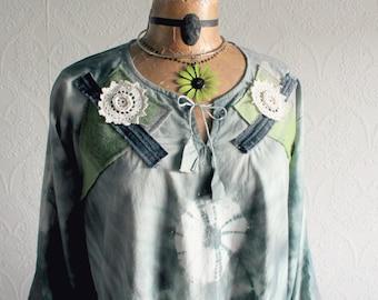 Bohemian Tunic Top Green Tie Dye Plus Size Long Hippie Shirt Recycled Clothing Retro Fringe Music Festival Boho Chic Fashion 1X 'PRISCILLA'